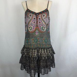 Band of Gypsies Boho Ruffled Dress with Embroidery